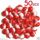 Qty 50 Fish WOW 1 Fishing float Snap On Round Floats bobbers Red White NEW