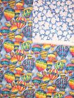 BRIGHT RAINBOW HOT AIR BALLOONS PRE-QUILTED DOUBLE SIDED COTTON QUILT FABRIC 1/2