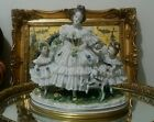 Antique Volkstedt Dresden Lace Mother with Two Children Figurine goat porcelain