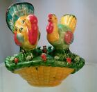 Vtg 50's RARE Japan Pottery Tom Hen Turkey basket Nest 3pc Salt