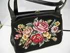 NEEDLEPOINT PURSE FLORAL DESIGN VINTAGE