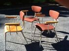 3 Vintage Same Mid Century Bentwood / Metal Chairs W/ Arms - Great Look - Good