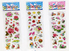3 sheets 3D Embellishments PVC STICKERS LOTFLOWERS Kids favor party GIFT