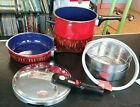 Vintage Red Silit Sicomatic 4.5 Qt Pressure Cooker/Steamer and Skillet + Extras