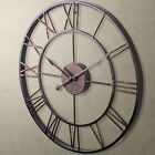 Classic Large Metal Wrought Iron Wall Clock Roman Numeral Steampunk Home Decor X