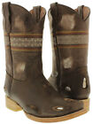 boys kids brown leather youth western rugged cowboy biker boots square toe