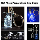Personalized Photo Picture Laser Engraved Crystal Key Chain Rectangle Shape