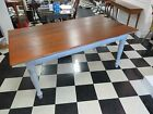Dining Room Farm Table - Cherry Wood Top - White Painted Base - Farmhouse Table
