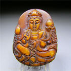 Chinese Antique natural old jade,bodhisattva,hand-carved pendant necklace AAA 9