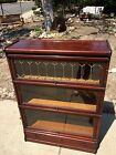 Globe Wernicke Antique Stacking Sectional Barrister Bookcase 3 Stack Leaded