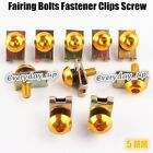 10PCS M5 5mm Motor Fairing Bolts Fastener Clips Screw Spring Nuts Gold