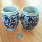 REMY  German Pottery Blue Gray Salt Glaze ART Cups