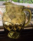 LARGE VINTAGE GLASS PITCHER - OPTIC DESIGN - YELLOW - ICE LIP - PONTIL -PRETTY!!