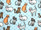 6 DIFFERENT SKETCHED KITTENS ON LT BLUE BACKGROUND FLEECE MATERIAL 2 YDS 60x72