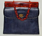 True Vintage Kadin Purse Link Strap 1960s Mod Navy Blue Brown Made In USA