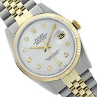 Rolex 2-Tone Datejust 16013 White Oyster Perpetual Diamond 18KGold Fluted Watch