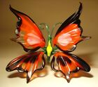 Blown Glass Figurine Murano Art Insect Red Black and White BUTTERFLY
