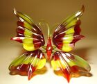 Blown Glass Figurine Murano Art Insect Red and Yellow BUTTERFLY