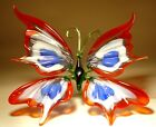 Blown Glass Figurine Murano Art Insect Red White and Blue BUTTERFLY