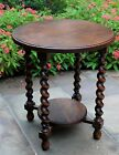 Antique English Oak ROUND 2-Tier Barley Twist Occasional Table Lamp End Table