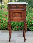 Antique French Oak Louis XV Style Marble Top Side Cabinet Nightstand End Table