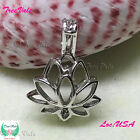 Lotus Flower Pearl Cage Pendant 925 Sterling Silver