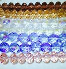 New LOT ASSORTED Faceted Rondelle Glass Crystal Beads Different Colors 2 Shapes