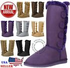 New Womens Four Button Faux Fur Lined Shearing Mid Calf Winter Snow Fur Boots