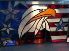 Custom made stained glass panel American eagle