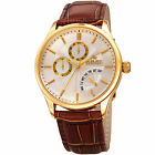 Men's August Steiner AS8209YGBR Dual Time Date Retrograde Day Leather Watch