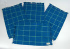 Salt Water Blue Place mats set of 4 13x20 inches with Plaid Fringe