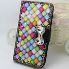 Magnetic Color Diamonds bow Gems PU leather slots Flip wallet book case cover 7