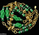CHRIS CROUCH MOANS COUTURE FAUX JADE GREEN ART GLASS NECKLACE LONG CHAIN SAUTOIR