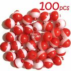 Qty 100 Fish WOW 1 Fishing float Snap On Round Floats bobbers Red White NEW