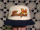 Vintage NCAA Michigan U Wolverines Off White with Blue Bill Snapback Hat Cap