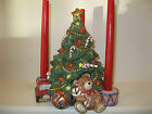 MINT FITZ AND FLOYD SANTA'S LIST CHRISTMAS TREE WITH CANDLEHOLDERS CENTERPIECE