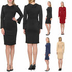 CLASSIC SHEATH MIDI DRESS WORK OFFICE CHURCH BUSINESS SLEEVE COLLARED DRESSES