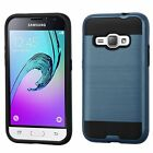 For Samsung Galaxy Amp 2 J12016 Blue Black Hard Silicone Hybrid Case Cover