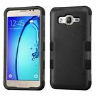 For Samsung Galaxy On5 Black Tuff Hard Silicone Hybrid Rubber Case Cover