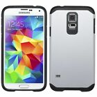 For Samsung Galaxy S5 Silver Black Hard Silicone Hybrid Rubberized Case Cover