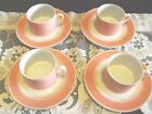 Vintage Fitz and Floyd Peach Rondelet Set of 4 Cups Saucers  EUC!!