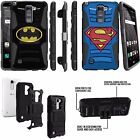 For LG Phones Heavy Duty Rugged Clip Holster Case Stand Batman Superman