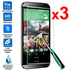3Pcs 9H Tempered Glass Skin Screen Protector Protective Film Guard For HTC