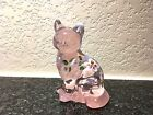 BEAUTIFUL FENTON ART GLASS HAND PAINTED AND SIGNED MADRAS PINK CAT