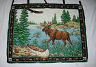 Moose Tapestry Wall Hanging Cabin Decor North Country Home Accent Cloth Hanging