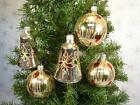 LOT 5 VINTAGE BELLS  ROUNDS GOLD RED GREEN ROMANIA GLASS CHRISTMAS ORNAMENTS