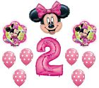 MINNIE MOUSE 2 2nd Pink Polka Dots Birthday Party Mylar  Latex Balloon Set