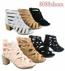 Womens Zip Strappy Open Toe Chunky High Wedge Heel Sandal Shoes Size 5 10 NEW