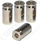 4 Real 45 Cal Bullet Nickel Tire Air Valve Stem Caps Car Truck Hotrod ATV Wheels