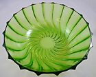 Vintage Green Depression Glass Swirl Serving Salad Bowl Gorgeous Heavy